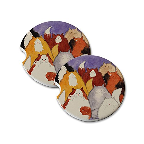 Natural Sandstone Car Drink Coasters (set of 2) - Eight Colorful Maine Coon Kitties Abstract Cat Art by Denise Every