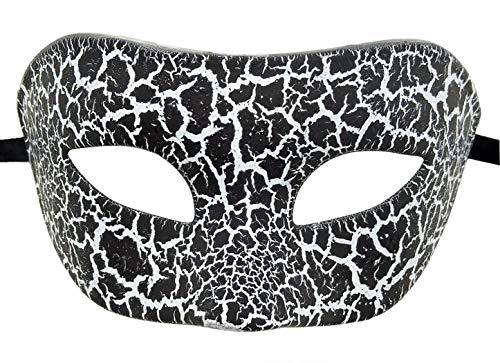 Mens Masquerade Mask Vintage Greek Roman Mask Venetian Party Halloween Mardi Gras Mask (D Cracked Black) ()