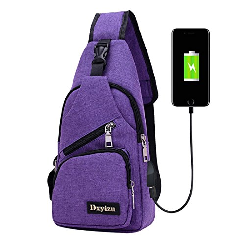 Crossbody Bag,Realdo USB Charging Port Outdoor Sports Casual Canvas Unbalance Backpack Messenger Sling Shoulder Purple