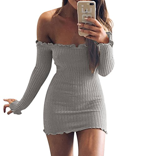Gray Dress Bodycon Women's Mini Party Off Sexy Knitted the Sleeve Shoulder Club Ruffle Long wOw6n7x8