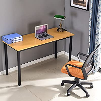 Modern Luxe by Merax Computer Desk PC Laptop Wood Writing Desk Home Office Furniture Workstation (55 inch) - Compact & Practical Table - This writing table can be placed in your home study, bedroom and office to serve as a computer desk, office desk, study stable, dining table, console table, writing or gaming desk. Sturdy and Durable - Thick MDF desktop riveted by sturdy steel frame construction provides strong support. A classic finish on top give this desk a timeless appeal. Easy to Assemble - All parts and instructions needed are provided which is extremely easy to assemble and disassemble. When not in use can be folded in the corner, save space; Also convenient to carry when going out for a picnic. - writing-desks, living-room-furniture, living-room - 5151EPeaVnL. SS400  -