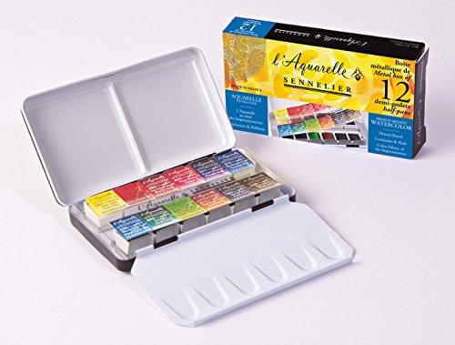 Sennelier L'Aquarelle French Watercolor Paint, Metal Box Pocket Set of 12 Half Pans