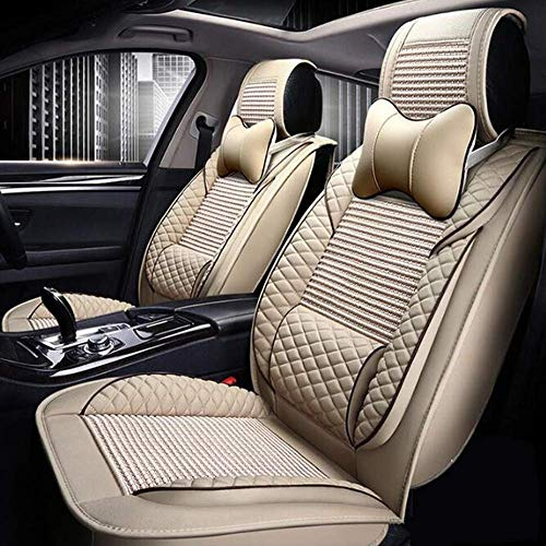 BMY Universal leather seat cover for 5 seat leather seat, car seats cushions, 9 sets, beige: