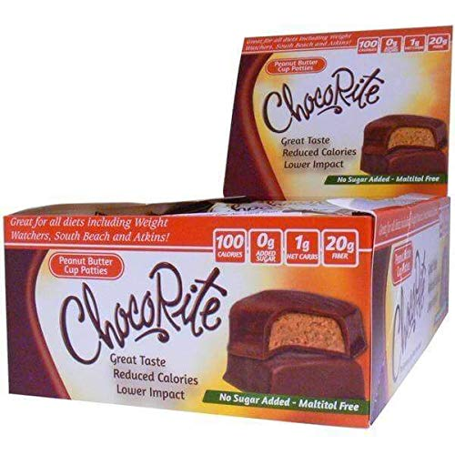 ChocoRite - High Fiber Diet Bar | Peanut Butter Cup Patties | Low Calorie, Low Fat, Sugar Free, (16/Box) by ChocoRite