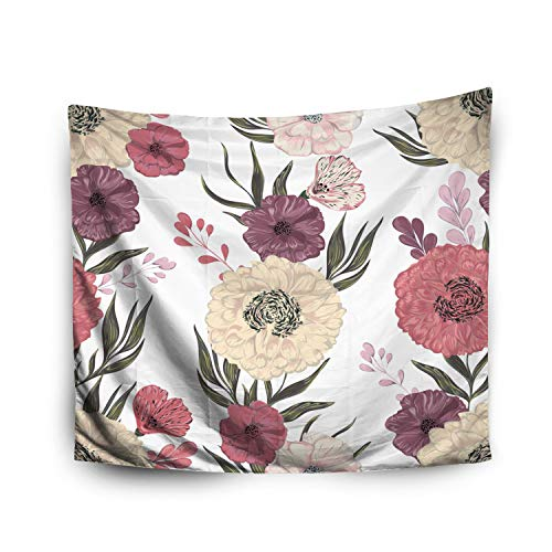 - Wall Hanging Tapestry,Jacrane Art Tapestries With 80X60 Inches Pattern Peony Dahlia Poppy Collectifloral Elements Wedding Invitations Birthday Cards Vintage I For Dorm Bedroom Living Home Decor