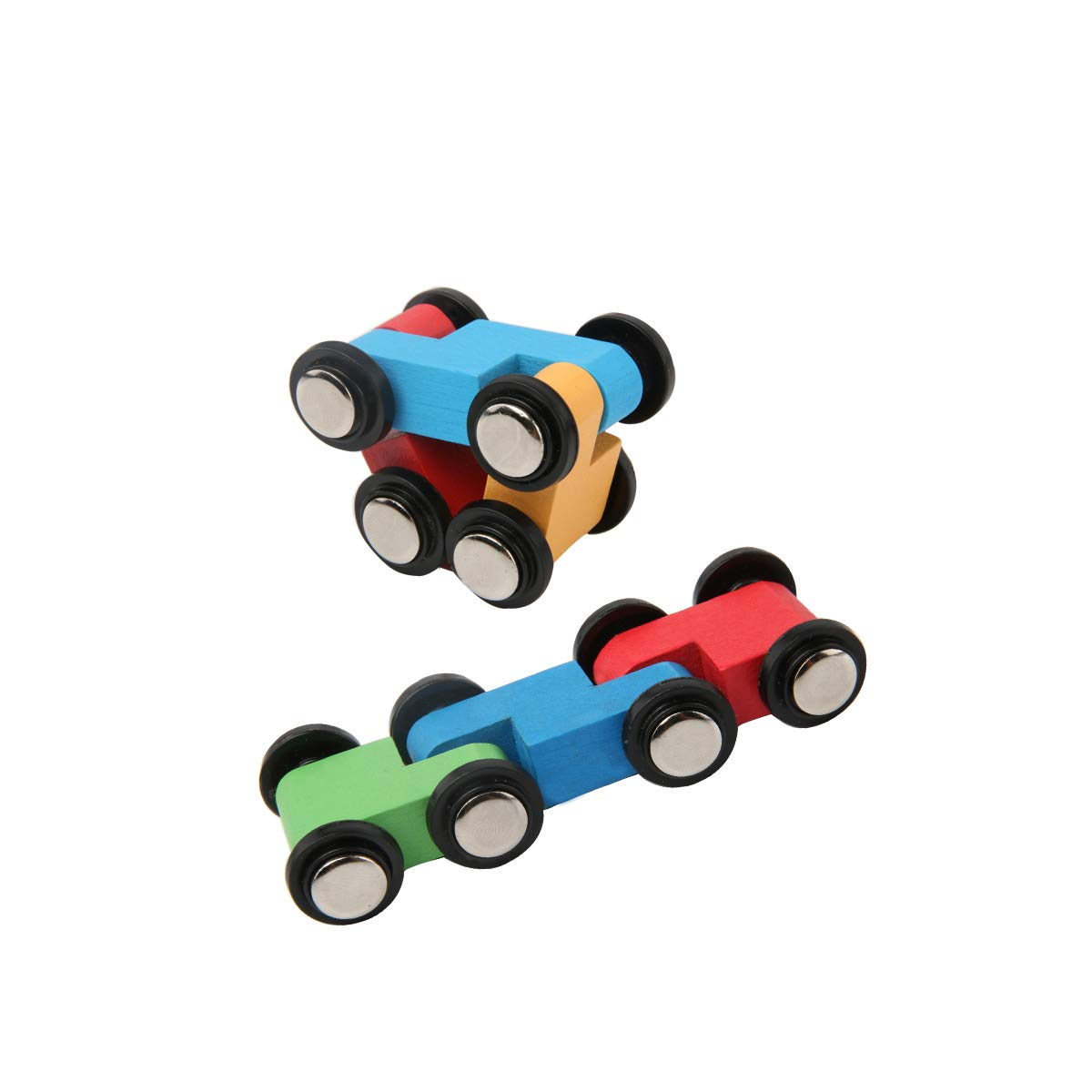 donado Wooden Car Ramp Race Red-Blue-Yellow 10 Level Toy Car Ramp Race Set for Kids 3+