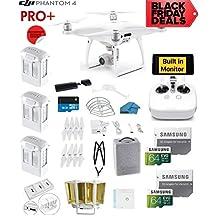 DJI Phantom 4 PRO Quadcopter Drone with 1-inch 20MP 4K Camera KIT + 3 Total DJI Batteries + 2 64GB Micro SDXC Cards + Reader + Snap on Prop Guards + Range Extender + Charging Hub + Remote Harness (PHANTOM 4 PRO PLUS, 3 BATTERY BUNDLE)