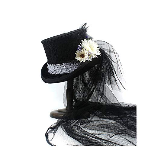 Scsy Negro Té De Gala Boda Marfil Boda Imitación Blanco Sombrero Diamantes sombrero Steampunk Gótico Copa Fiesta Victoriano 4Zar41