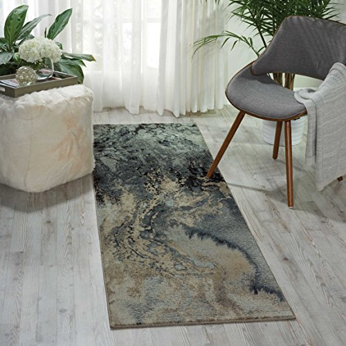 (Nourison Maxell  Modern Contemporary Grey Polyester Area Rug 2 Feet 2 Inches by 7 Feet 6 Inches,  2'2