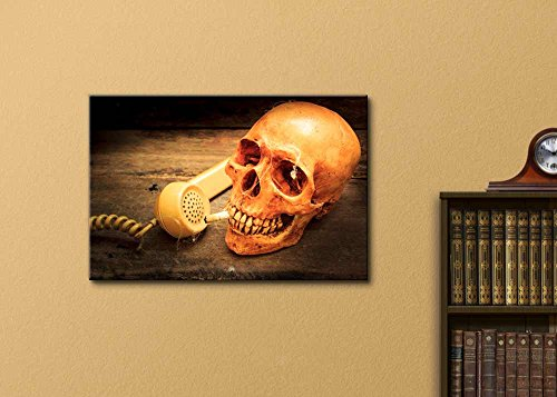 Skull with Cigarette and Old Wood Background
