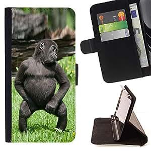 Momo Phone Case / Flip Funda de Cuero Case Cover - Mono del bebé divertido lindo del gorila - Sony Xperia Z5 5.2 Inch (Not for Z5 Premium 5.5 Inch)