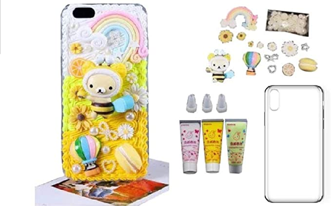 Amazon Com Diy 3d Yellow Bear Bee Cream Decoration Cell Phone Case Kit Set Lazyfatcat Iphone X 10