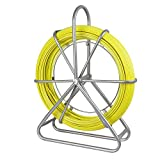 ECO-WORTHY Fish Tape Fiberglass 8MM 492FT Duct Rodder Fish Tape Continuous Fiberglass Wire Cable Running with Cage Wheel Stand