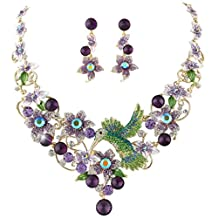 Ever Faith Hummingbird Necklace Earrings Set Austrian Crystal