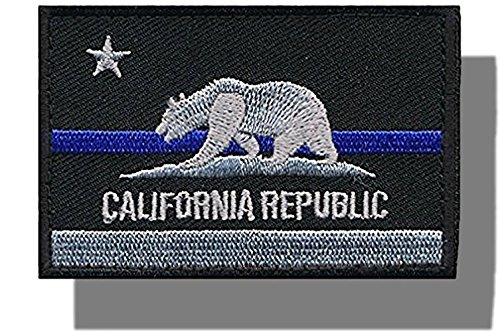"[Single Count] Custom and Unique (3'' x 2'') Rectangle ""Political"" Tactical California Republic State Morale Flag Embroidered Applique Patch {Black, Blue, White Colors} [Licensed] by mySimple Products"