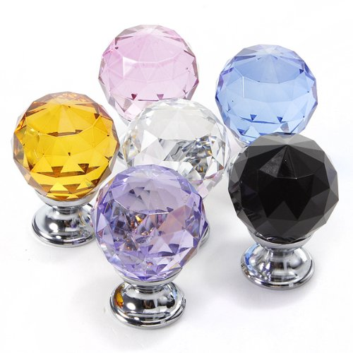(10pcs 30mm Round Crystal Glass Door Knob Drawer Wardrobe Cabinet Pull Handle,Clear)