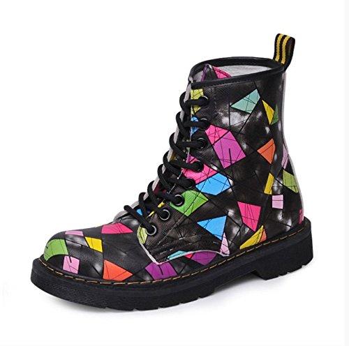 Botines para Mujer Cabeza Redonda Plana Más Terciopelo Zapatos de Color Hechizo Casual Salvaje Mantenga Calientes Botas Martin, Fennish Negro y Terciopelo, ...