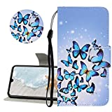 YiCTe Painted PU Leather Case for Redmi Note 8 Pro,Soft Silicone Cover,with Card Slots,Wrist Strap,Stand,Colorful Pattern Design Full Body Folio Flip Protective Phone Shell,Multiple Butterflies