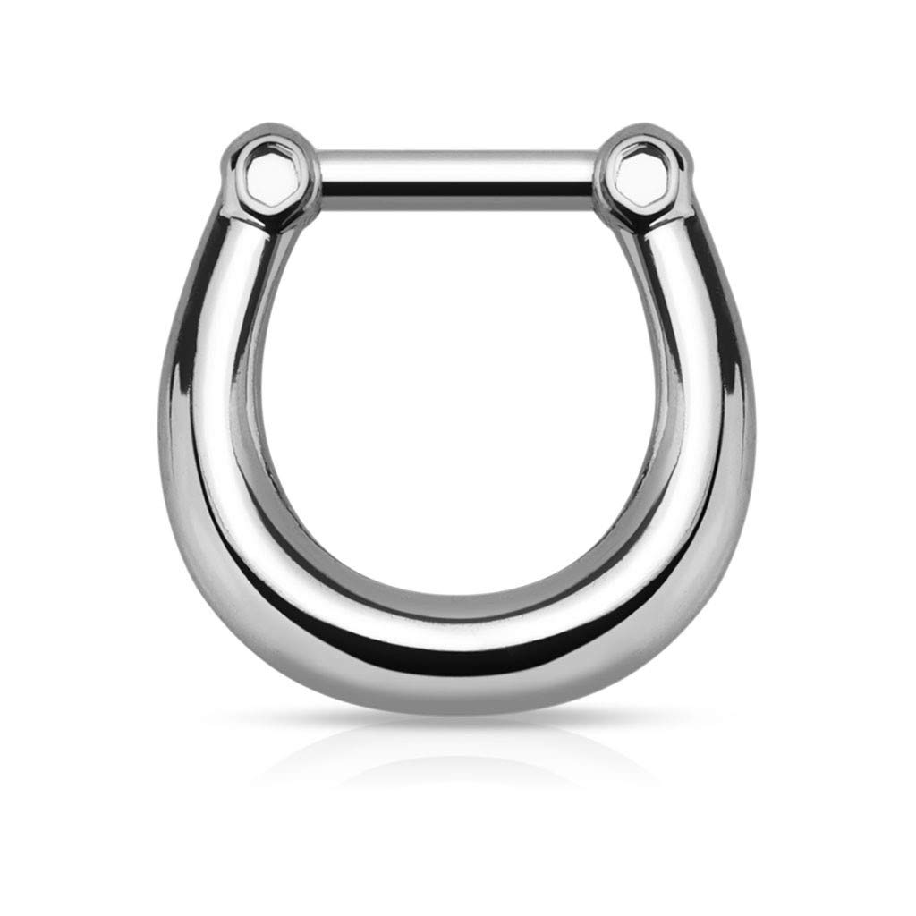 Amelia Fashion 16G Hematite Plain Nose Septum//Ear Cartilage Clicker Ring 316L Surgical Steel