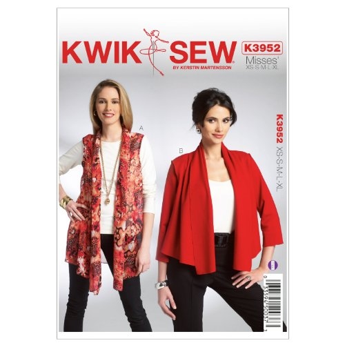 Kwik Sew K3952 Misses Vest and Jacket Sewing Pattern, Size XS-S-M-L-XL