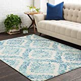 "Oaklyn Damask Blue 5'3"" x 7'3"" Rectangle Transitional 100% Polypropylene Dark Blue/White/Light Gray/Teal Area Rug"