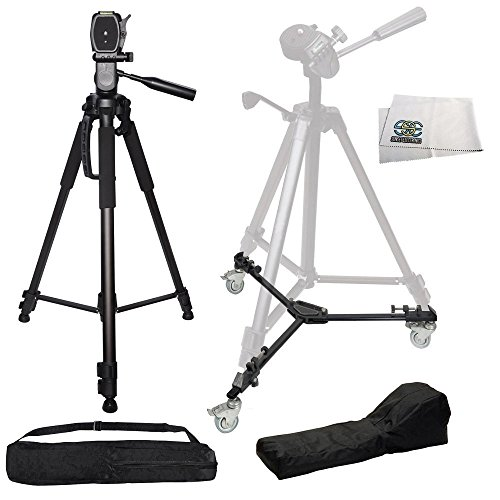 Professional 72-inch 3-way Panhead Tilt Motion W/ 2-Built In Bubble Leveling Tripod + Heavy Duty Portable Tripod Dolly w/Carrying Cases for Each - Compatible with Canon