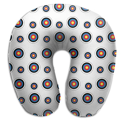 NiYoung U Shaped Memory Foam Air Pillow Neck Head Cushion Support Rest Outdoors Car Office Home Travel Pillow (Archery Target Colorado Circular) (Best Dispersed Camping In Colorado)