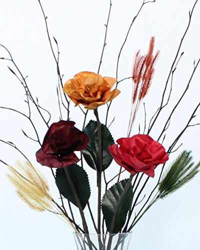 GreenFloralCrafts Burmese Forever Roses & Branches DIY Floral Bouquet-Assorted Colors - Vase NOT Included (Assorted Roses Stem Long)