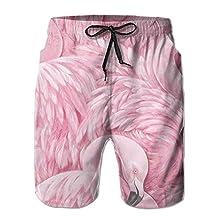Flamingo Wallpaper Board Short Moistur Drawers With Pockets For Unisex White