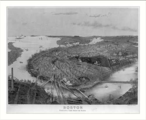 Historic Print (L): Boston - bird's eye view from the north / J. Bachmann del...
