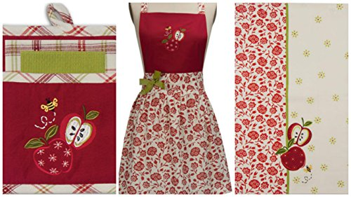 Kay Dee Apple Season Apron 3pc Dishcloth Gift Embroidered Potholder Set, 2 Tea Towel Bundle 5pc