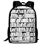 Adult Travelc Laptop Backpack,Education Themed Monochrome Graphic Of Bookshelves With Lots Of Books,College School Computer Bookbag