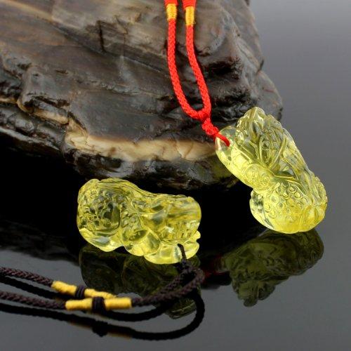 O-stone 3A Collier pendants Coupe de Valentin de Pixiu en citrine le Amoulette de pierre de protection