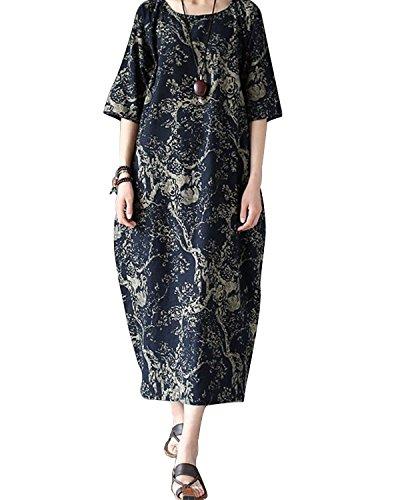 Kaftan Cotton Linen Blue Batwing Plus Women Size Floral Dress Loose BONESUN Navy Casual qwXO8Y1q