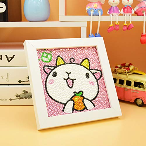 MYSNKU Diamond Painting for Kids Full Drill Painting by Number Kits Arts Crafts Mosaics Sticker for Home Wall Decor Gifts for Christmas Birthday -Include Wooden Frame (Lamb)