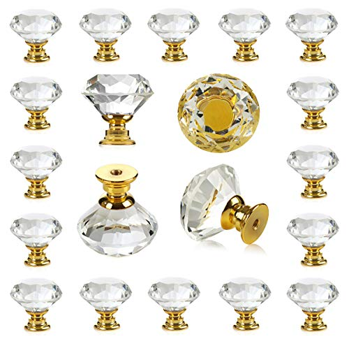 (25 pcs Crystal Glass Golden Drawer Pulls Decorative Knobs for Kitchen Bathroom Cabinet, Dresser and Cupboard by DeElf)