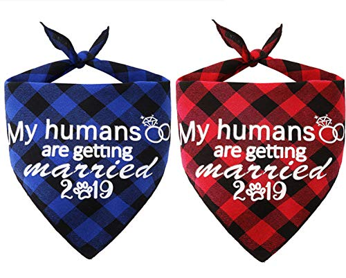 JPB 2 Pack My Humans are Getting Married 2019 Dog Bandana,Pet Wedding Scarf Engagement Gifts (Best Gifts For Dogs 2019)