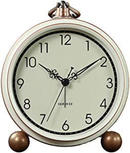 Maxspace Alarm Clock, Retro Non-Ticking Table Clock Battery Operated Small Alarm Clock with Quartz Analog, Desk Clock for Bedrooms Living Room Decor Kids (White)