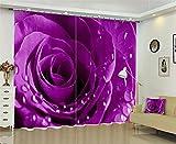 Dbtxwd 3D Rose flower Rain dew drape Blackout Purple Curtains Bedroom living room Panel Window Drapes , wide 3.0x high 2.7