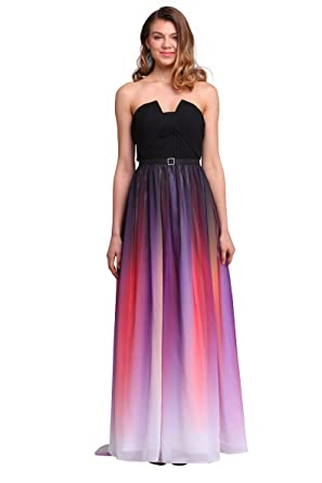 Mypuffgirl Ombre Purple Strapless Chiffon Floor Length Formal Prom Dress With Belt (2)