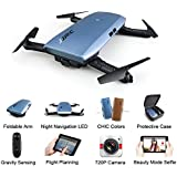 JJR/C H47 RC Drone with 720 HD Camera Elfie Foldable Selfie Pocket Helicopter Gravity Sensor Mode One hand Remote Control Mini Quadcopter (blue)