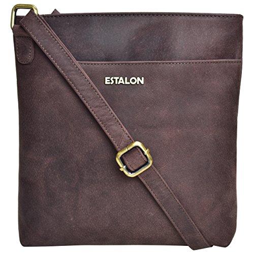 Premium Leather Crossbody Slim Bag for Women - Handmade Cross Body Over the Shoulder Purse Luxury Womens (Brown Crazy Horse 2) by Estalon