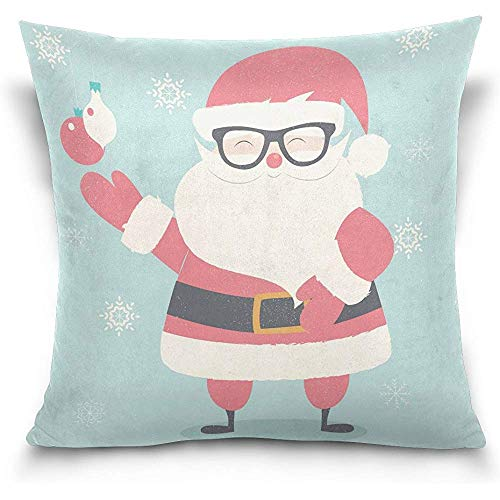 Merry Christmas Hipster Santa Claus Wearing Glasse Pattern Decorative Throw Pillowcase Cushion Pillow Cover 18