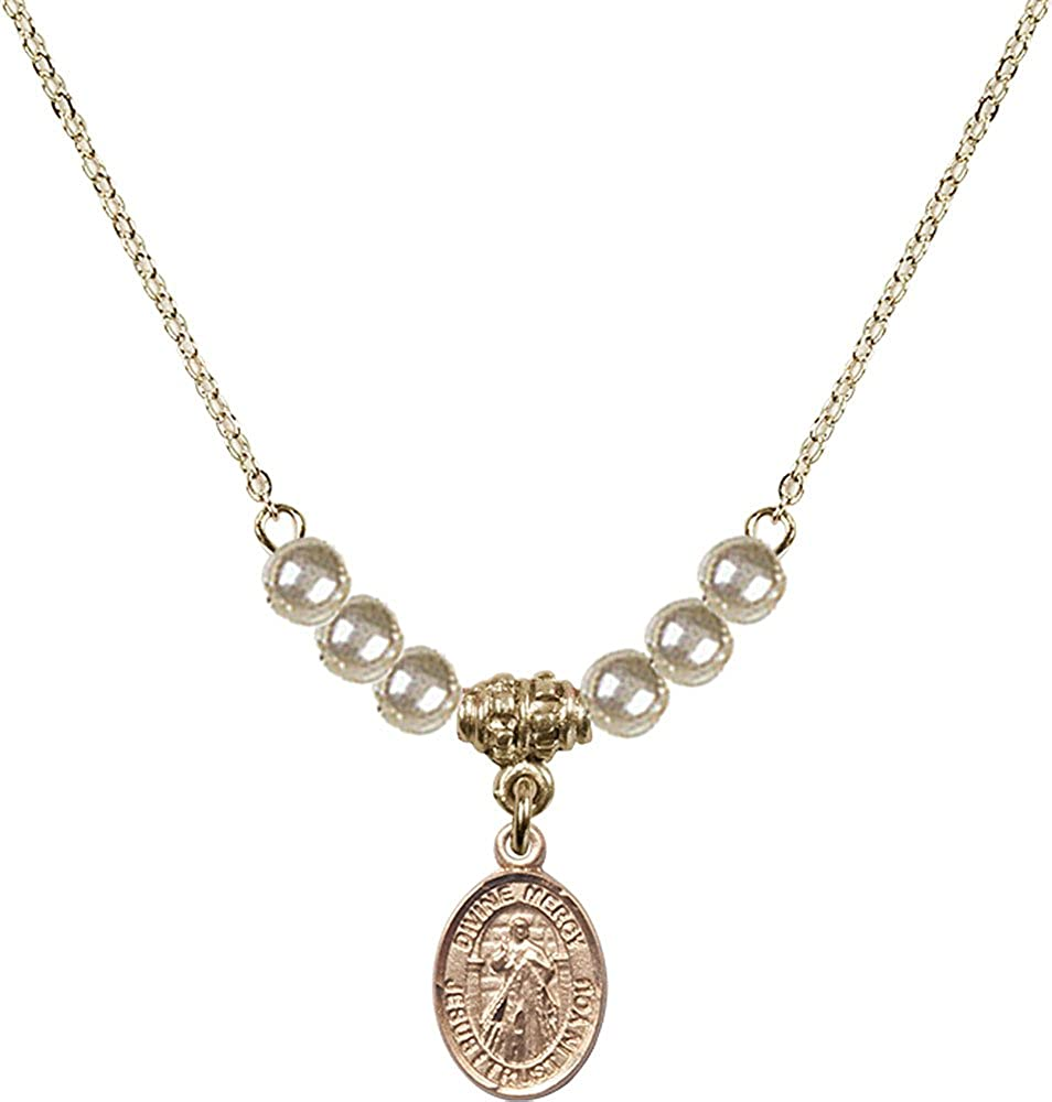 18-Inch Hamilton Gold Plated Necklace with 4mm Faux-Pearl Beads and Gold Filled Divine Mercy Charm.