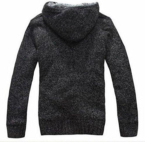 Coat Warm Fleece Lined Hooded Dark Thick Generic Padded Jacket Men's Grey Sweatshirt xqywCxX8EI