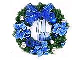Yunqir Flower Christmas Wreath Door Hanging Ornaments Room Christmas Tree Pendants for Decoration(Blue)