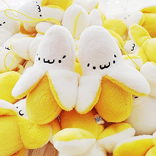 KateDy 12 Pcs Yellow Banana Plush Keychain Stuffed Toy Kawaii Hanging Fruit Plush Puppets for Baby Kids Child,Soft Key Chain Pendant Best Decoration for Cell Phone Handbag Wallet Backpack Travel Bag ()