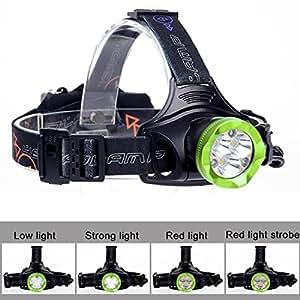 iuhan 60000lm T66x LED Faro linterna recargable por USB Linterna frontal