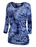 WT1059 Womens Round Neck 3/4 Sleeve Tie Dye Drape Top with Side Shirring L NAVY
