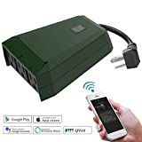 Waterproof Outdoor Wifi Smart Plug with 3 Way Outlets Compatible with Alexa Google Home, C128 Green